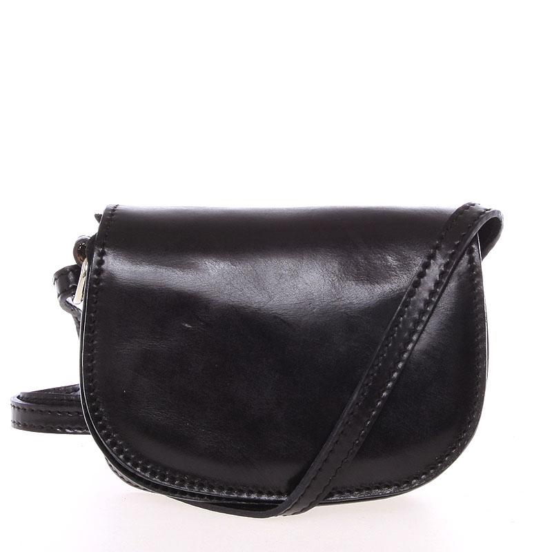 Malá černá hladká crossbody kožená kabelka - ItalY EmZoya