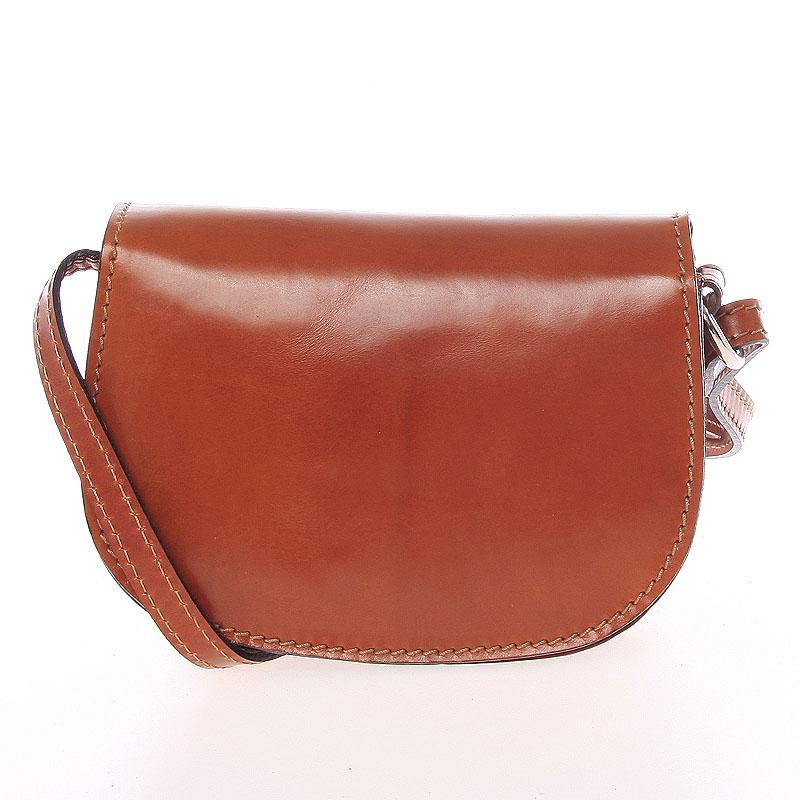 Malá koňaková hladká crossbody kožená kabelka - ItalY EmZoya