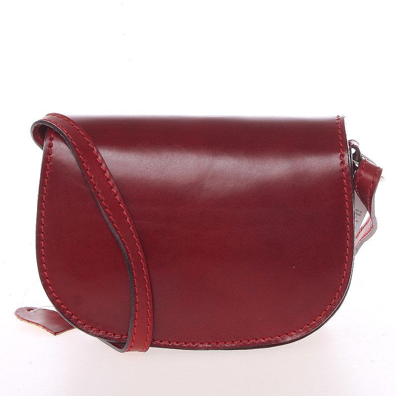 Malá červená hladká crossbody kožená kabelka - ItalY EmZoya