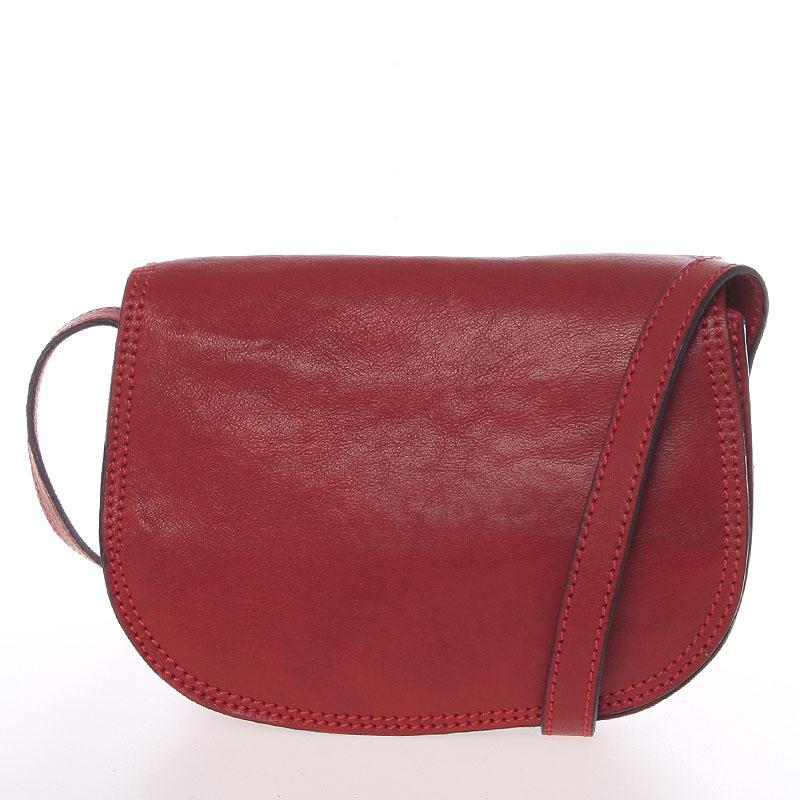 Menší červená lakovaná crossbody kožená kabelka - ItalY Zoya