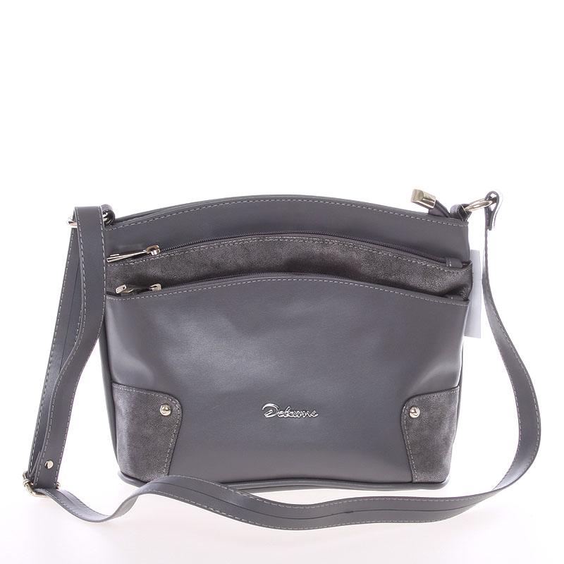 Originální crossbody kabelka tmavě šedá - Delami Lealia