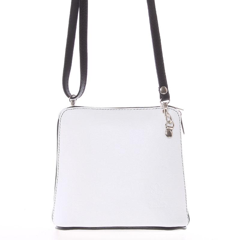 Bílá dámská kožená kabelka crossbody s černým zipem 10053