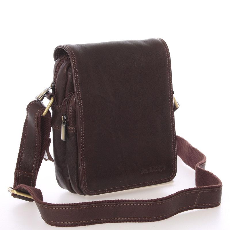 Pánská hnědá kožená taška přes rameno - SendiDesign Luxos