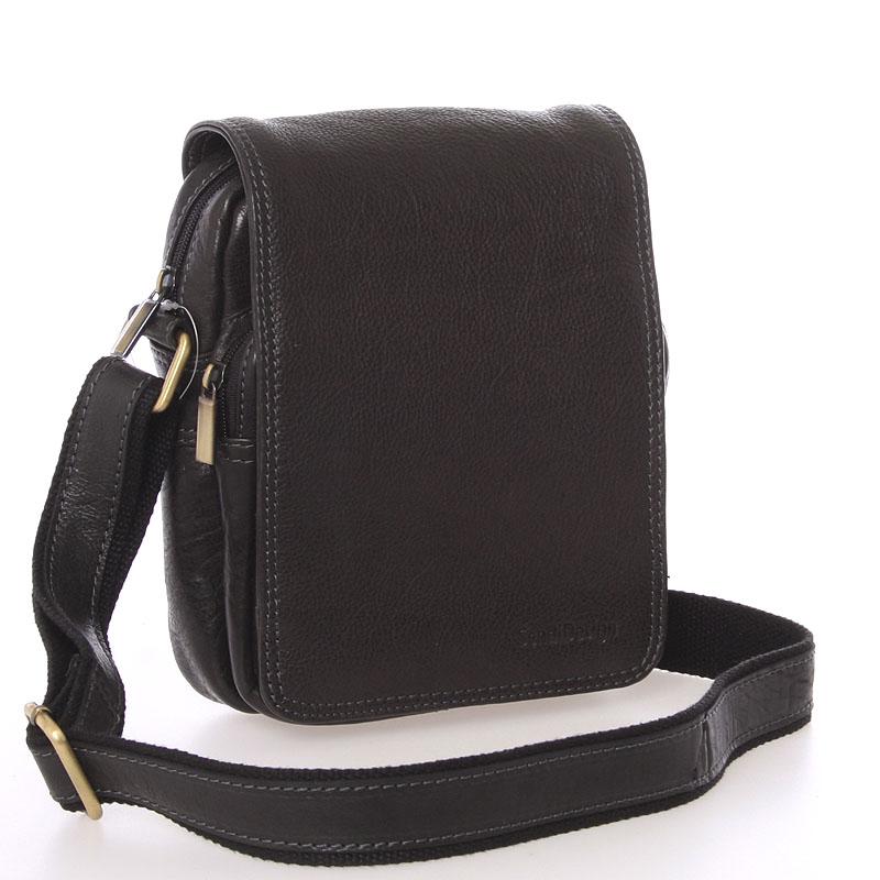 Pánská černá kožená taška přes rameno - SendiDesign Luxos
