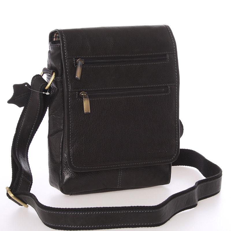Módní pánská kožená taška přes rameno černá - SendiDesign Lycaon