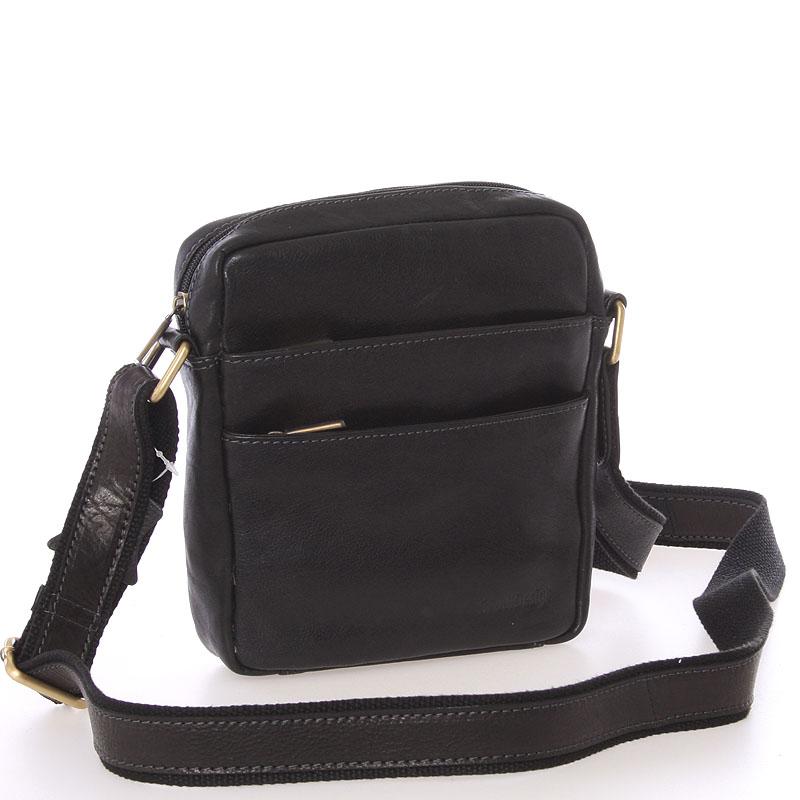 Módní pánská kožená taška na doklady přes rameno černá - SendiDesign Lamar