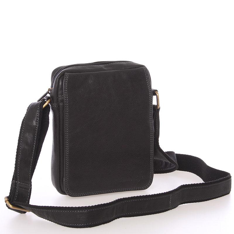 Pánská kožená taška na doklady přes rameno černá - SendiDesign Dumont