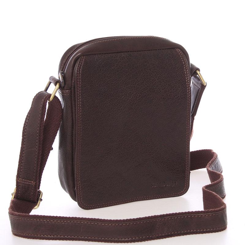 Pánská kožená taška na doklady přes rameno hnědá - SendiDesign Didier