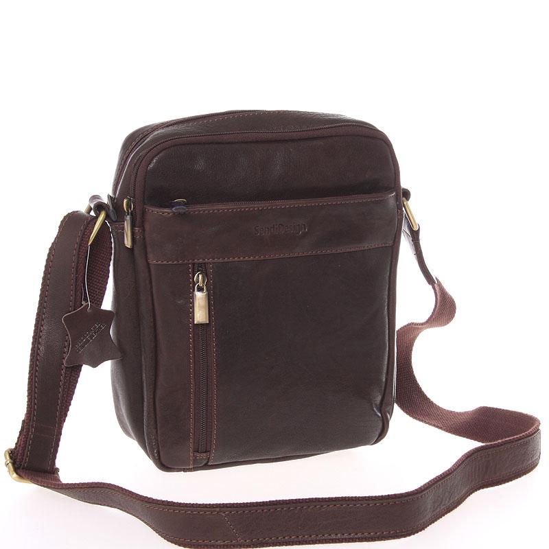 Stylová pánská kožená taška přes rameno hnědá - SendiDesign Loukanos