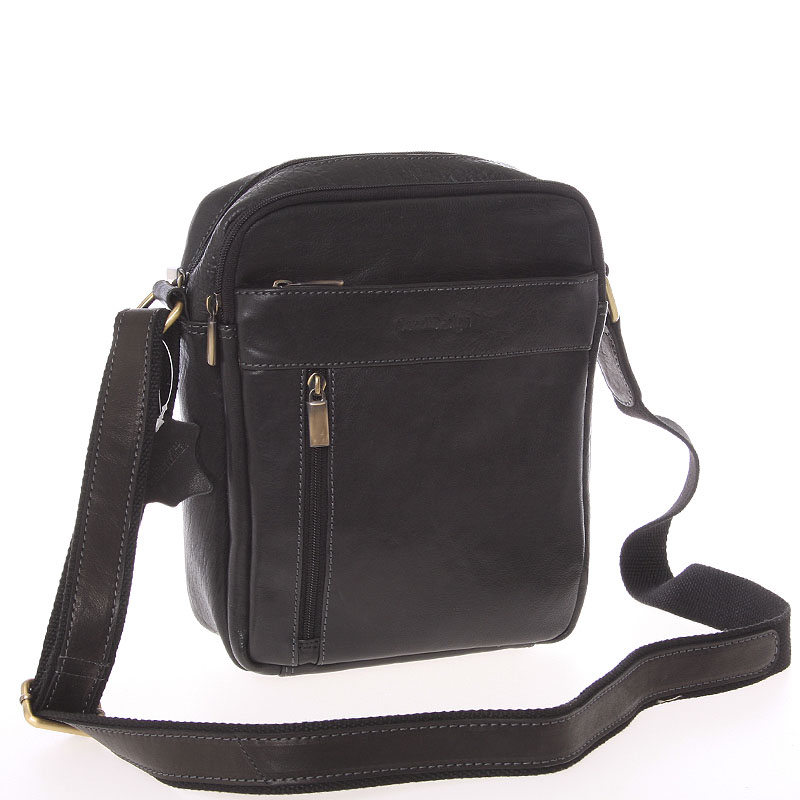 Stylová pánská kožená taška přes rameno černá - SendiDesign Loukanos