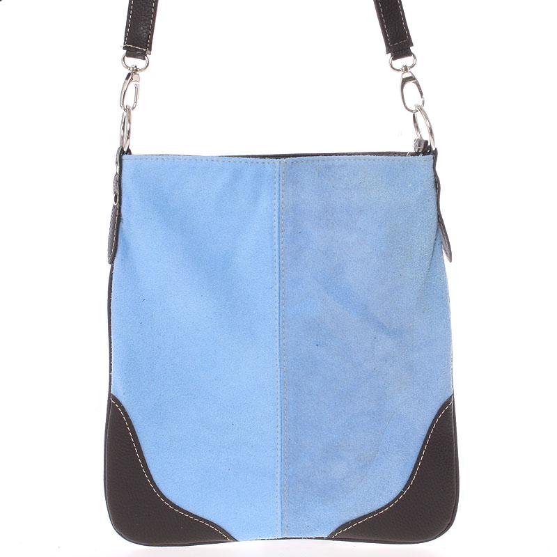 Světle-modrá kožená crossbody kabelka ItalY 10062