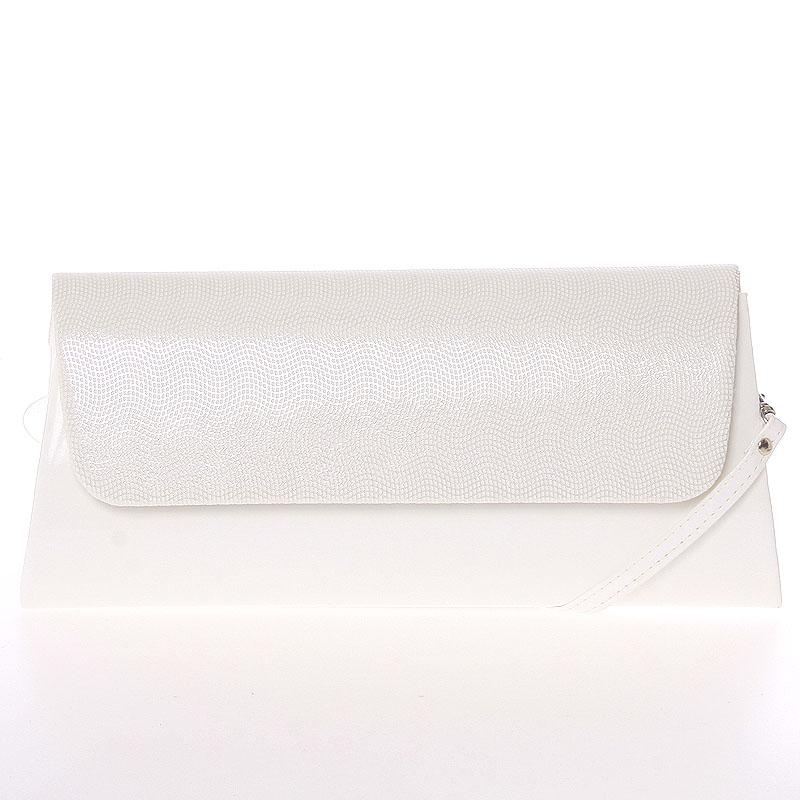 Luxusní velké dámské psaníčko bílé lesklé se vzorem - Delami Chicago