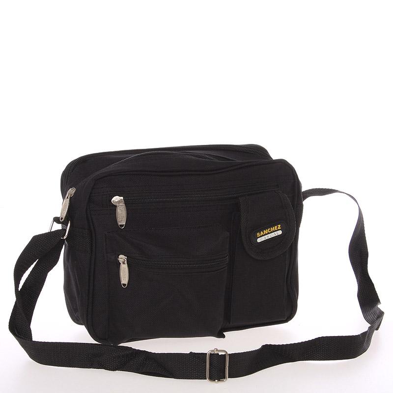 Pánská látková taška přes rameno černá - Sanchez Santa