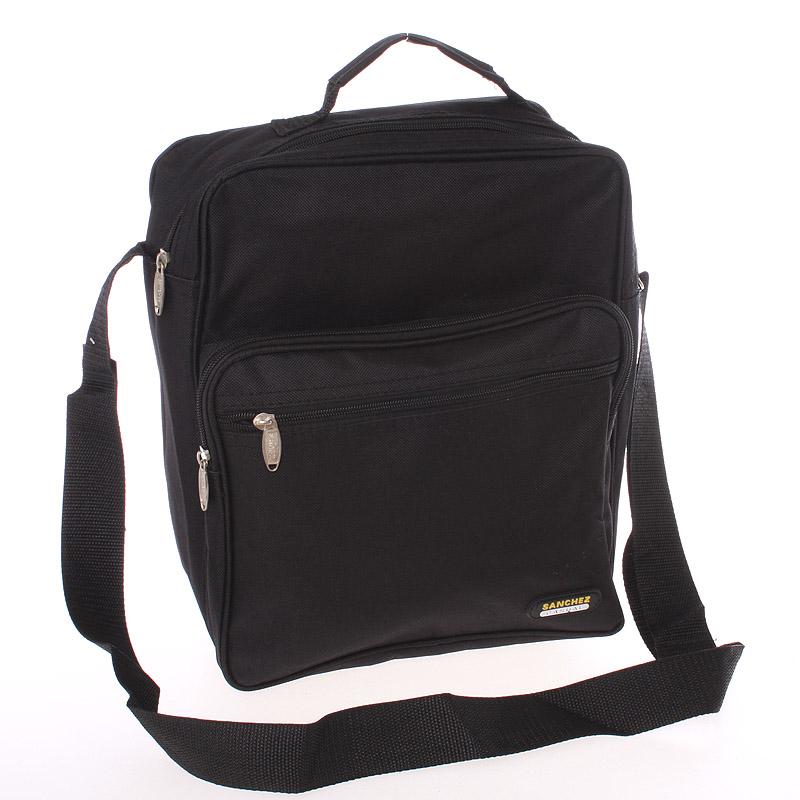 Pánská látková taška přes rameno černá s uchem - Sanchez Torba