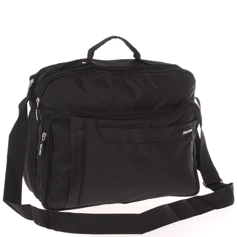 Středně velká taška na doklady a notebook černá - Bellugio Meskar