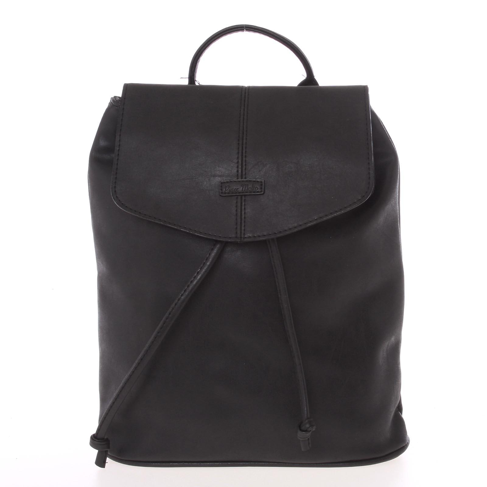 Kvalitní elegantní dámský černý batůžek - Piace Molto Floriant