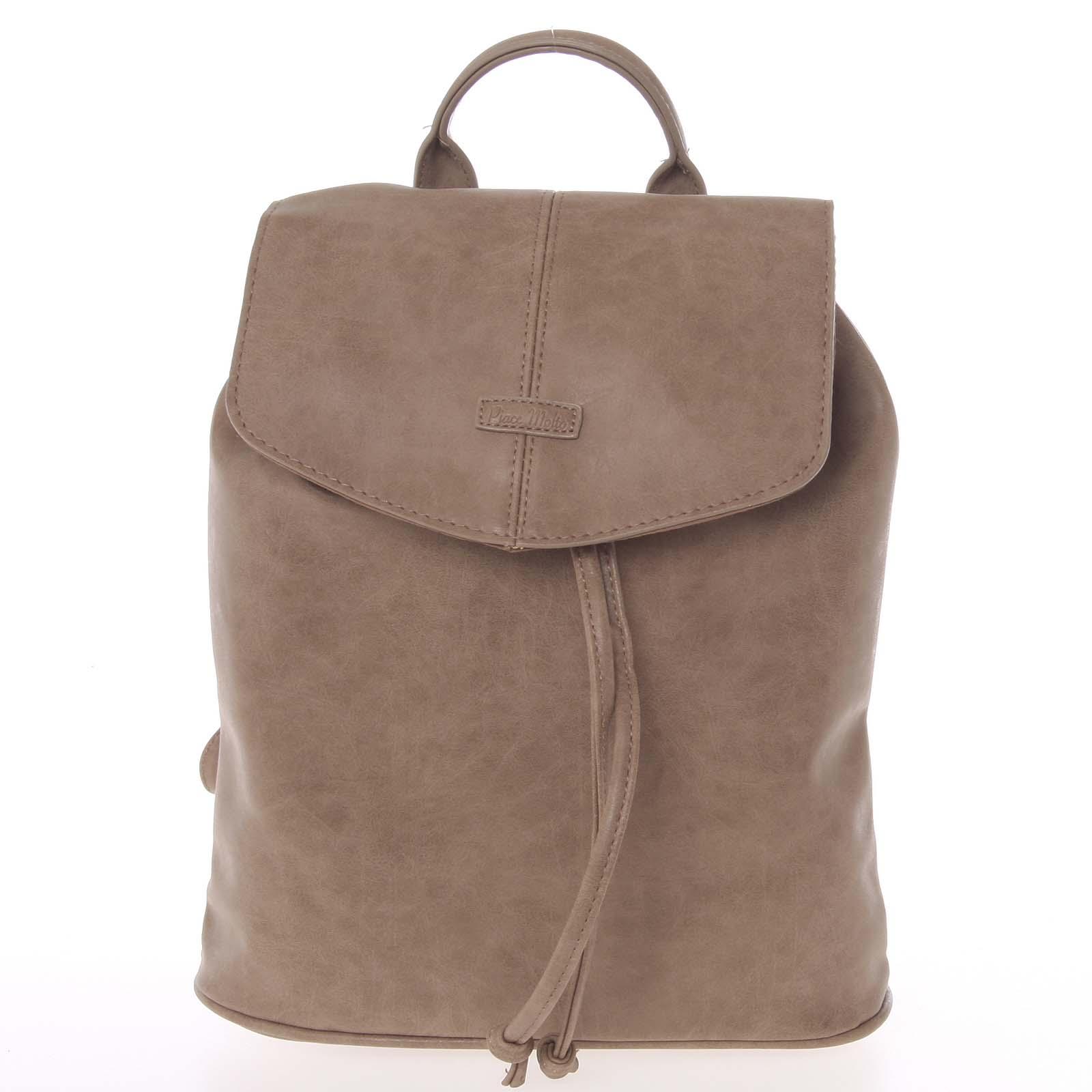 Kvalitní elegantní dámský taupe batůžek - Piace Molto Floriant