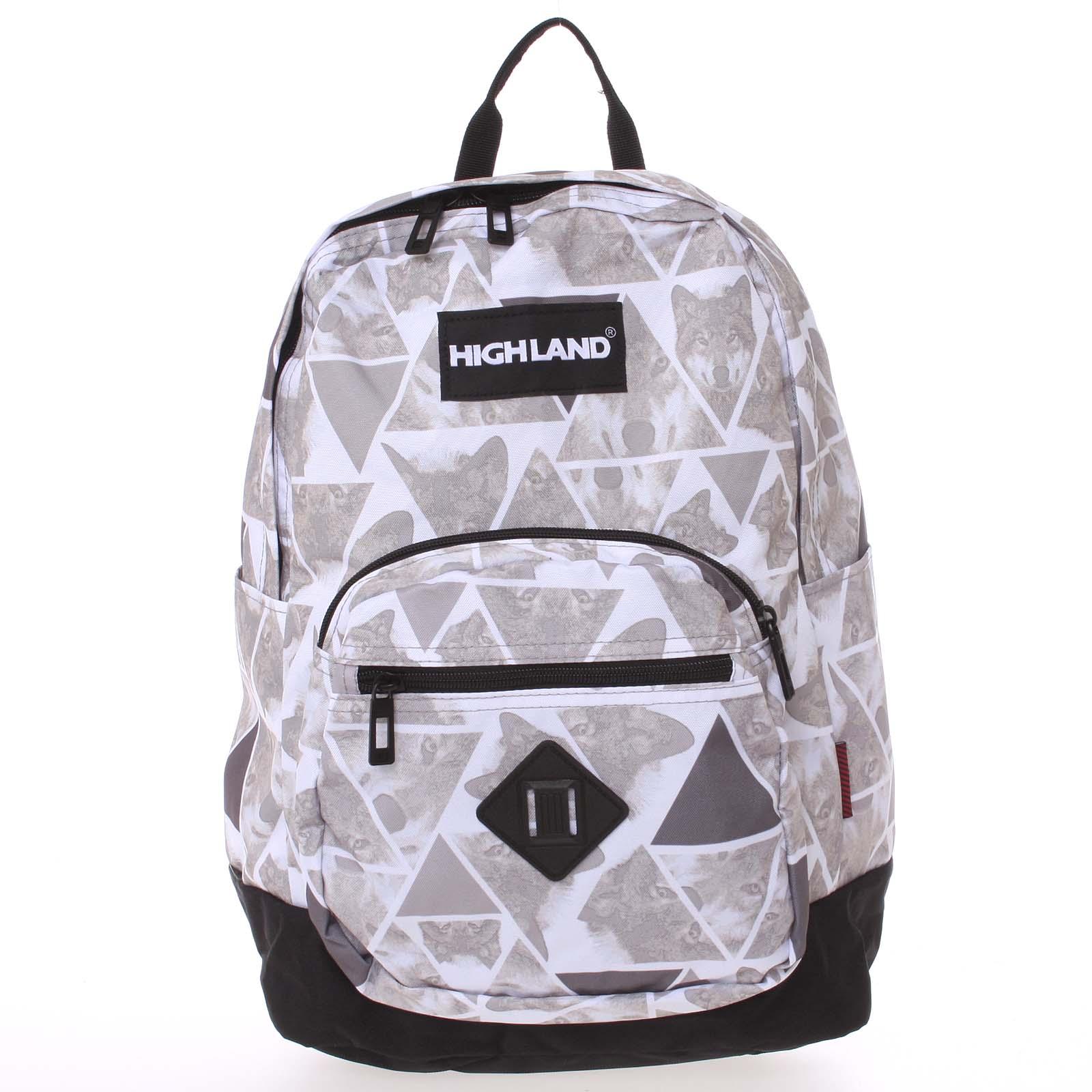 Originální lehký školní a cestovní batoh šedo bílý - Highland 8275