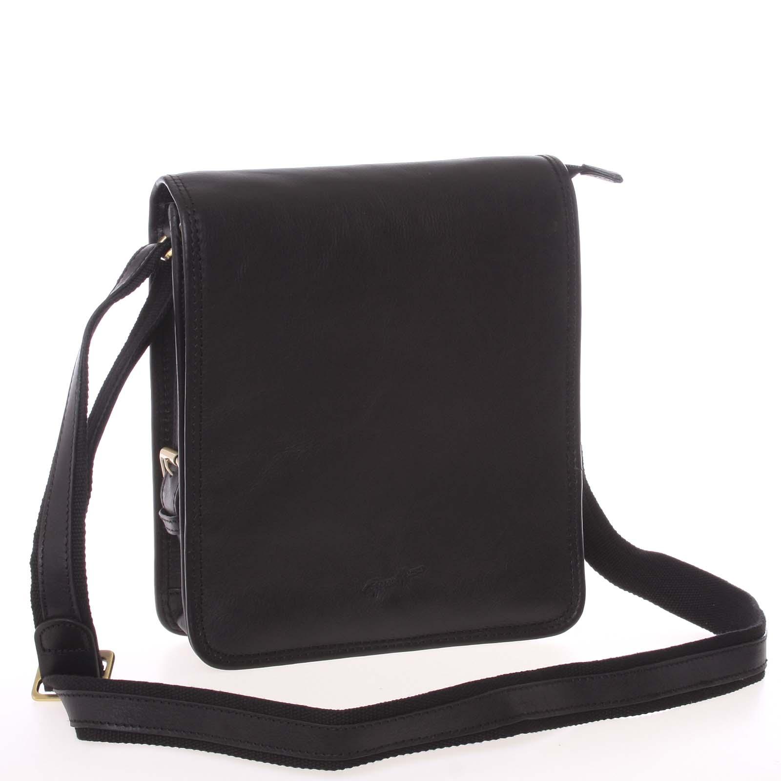 Pánská kožená taška přes rameno černá - Gerard Henon Bugros