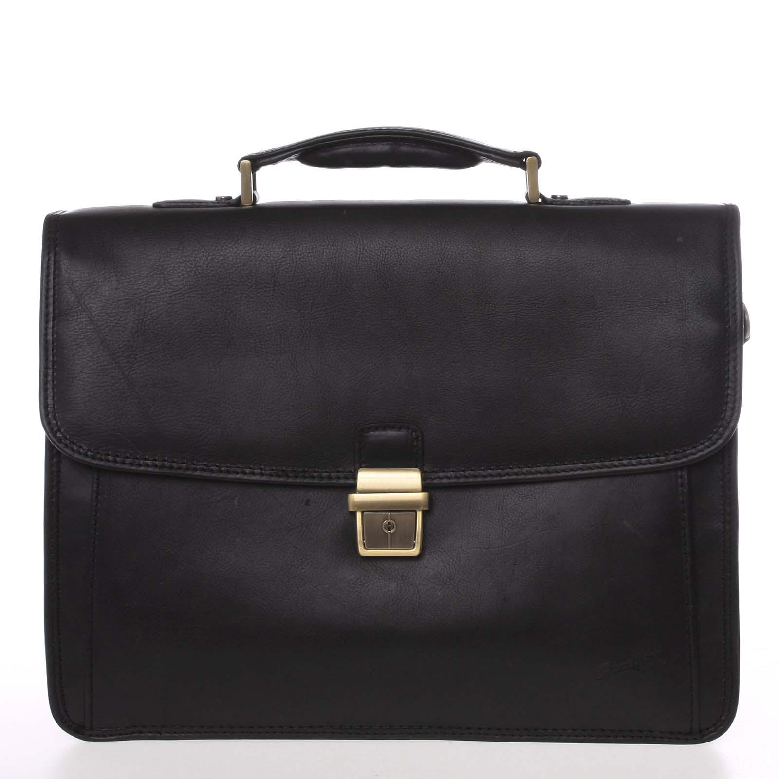 Luxusní elegantní kožená aktovka černá - Gerard Henon Bravis