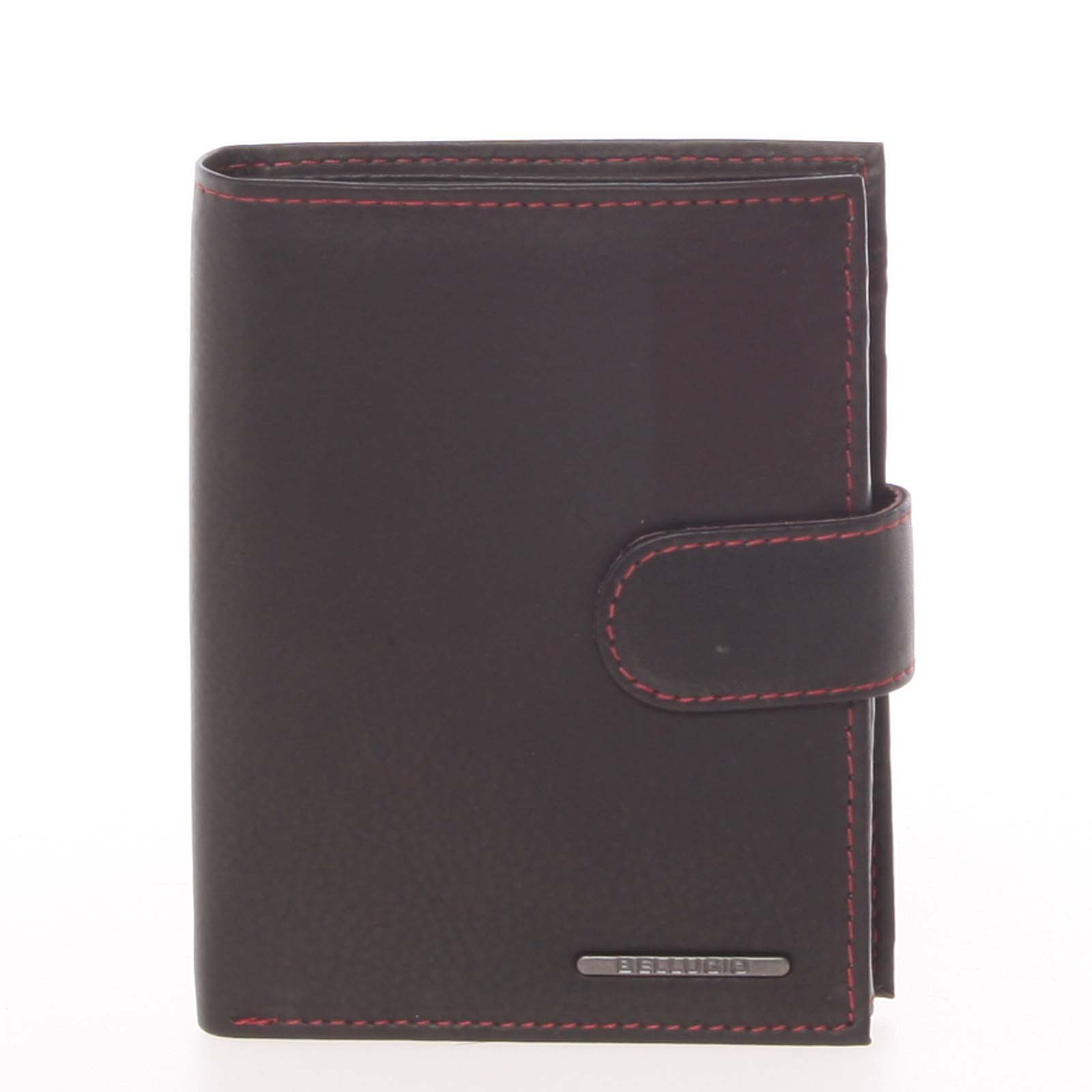 Prošívaná kožená peněženka černá - Bellugio Palaemon