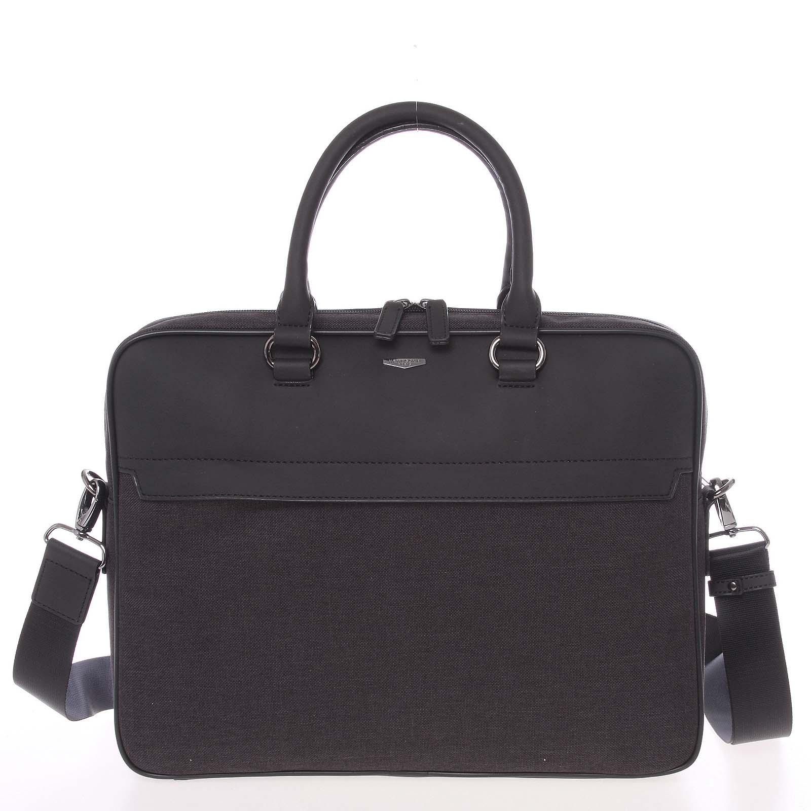 Polokožená šedo-černá taška na notebook - Hexagona Pearly