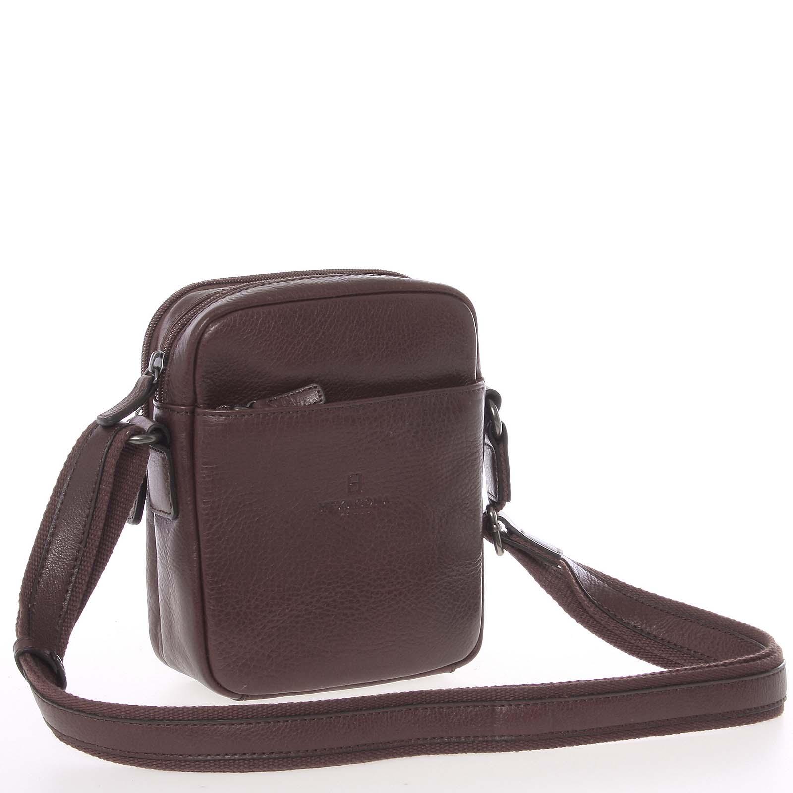 Hnědá luxusní kožená taška na doklady Hexagona 123477