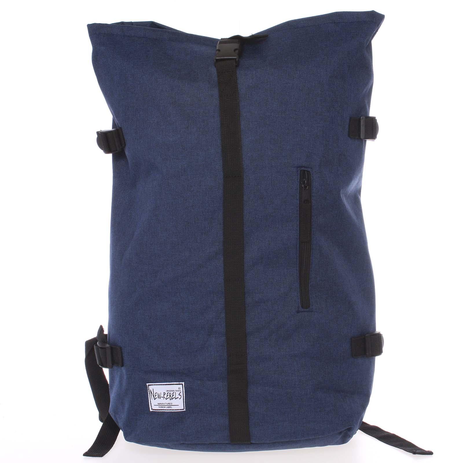 Jedinečný velký stylový unisex batoh modrý - New Rebels Rebback
