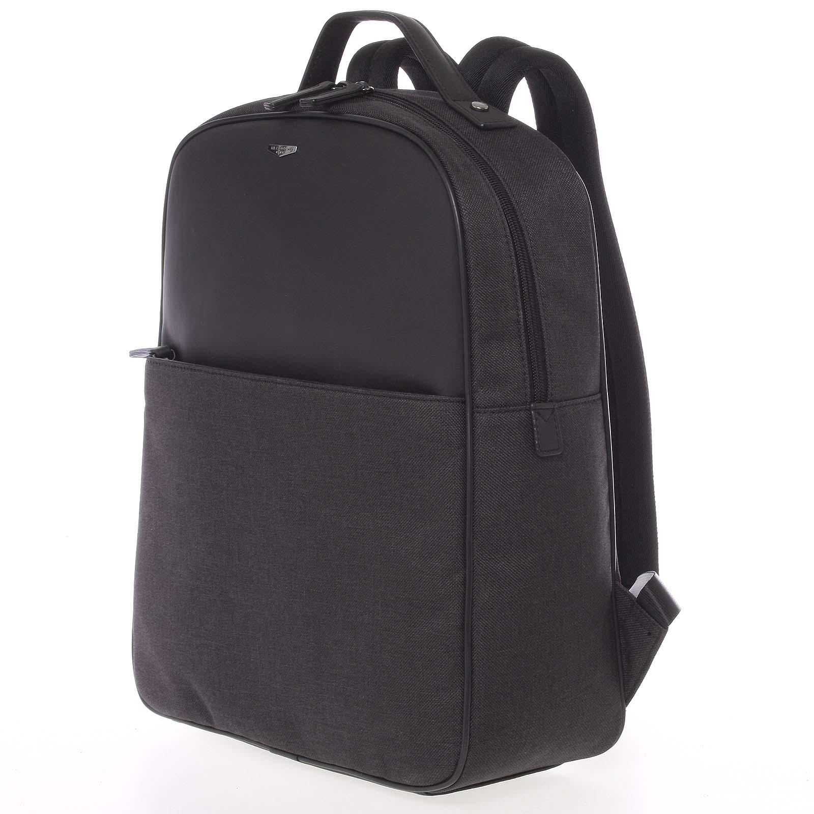 Luxusní polokožený šedo-černý batoh - Hexagona Galantis