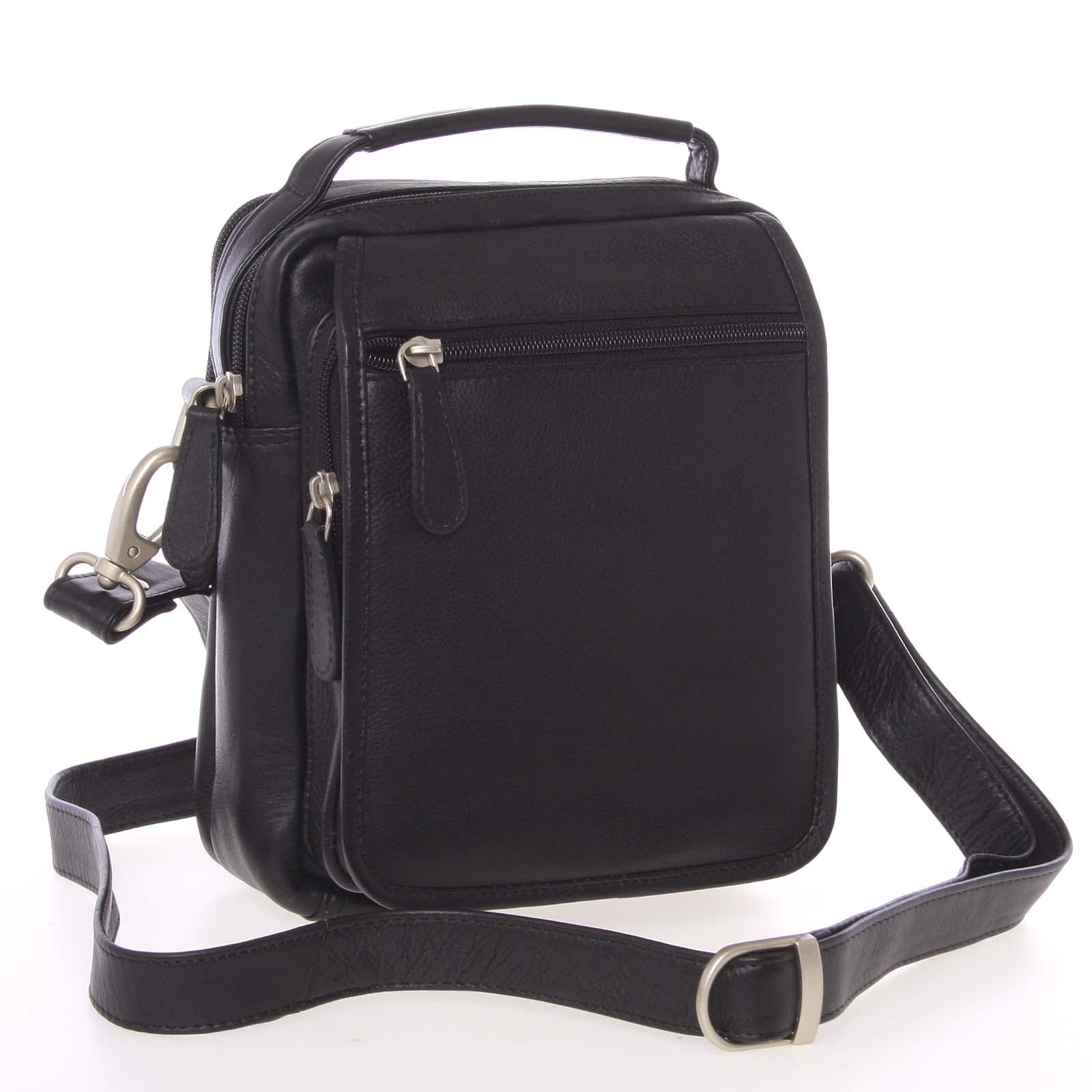 Černá hladká kožená taška přes rameno SendiDesign Rico