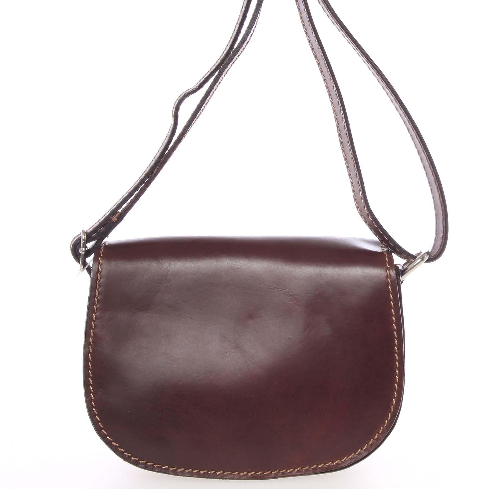 Malá hnědá hladká crossbody kožená kabelka - ItalY EmZoya