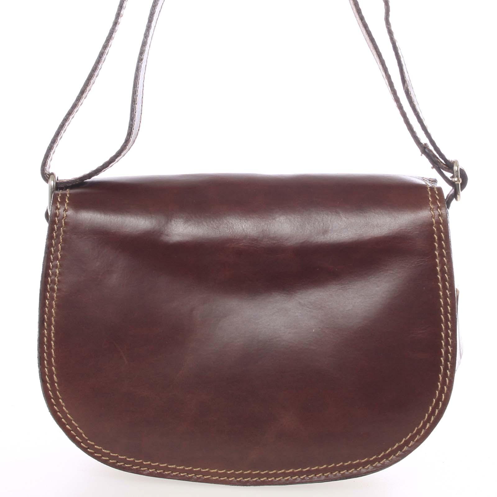 Menší hnědá crossbody kožená kabelka - ItalY Zoya