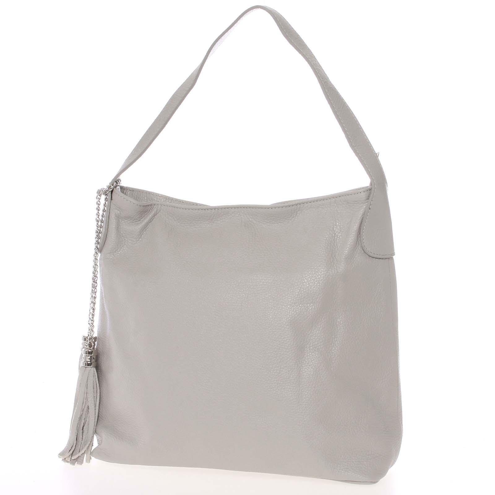 Módní kožená kabelka přes rameno světle šedá - ItalY Georgine