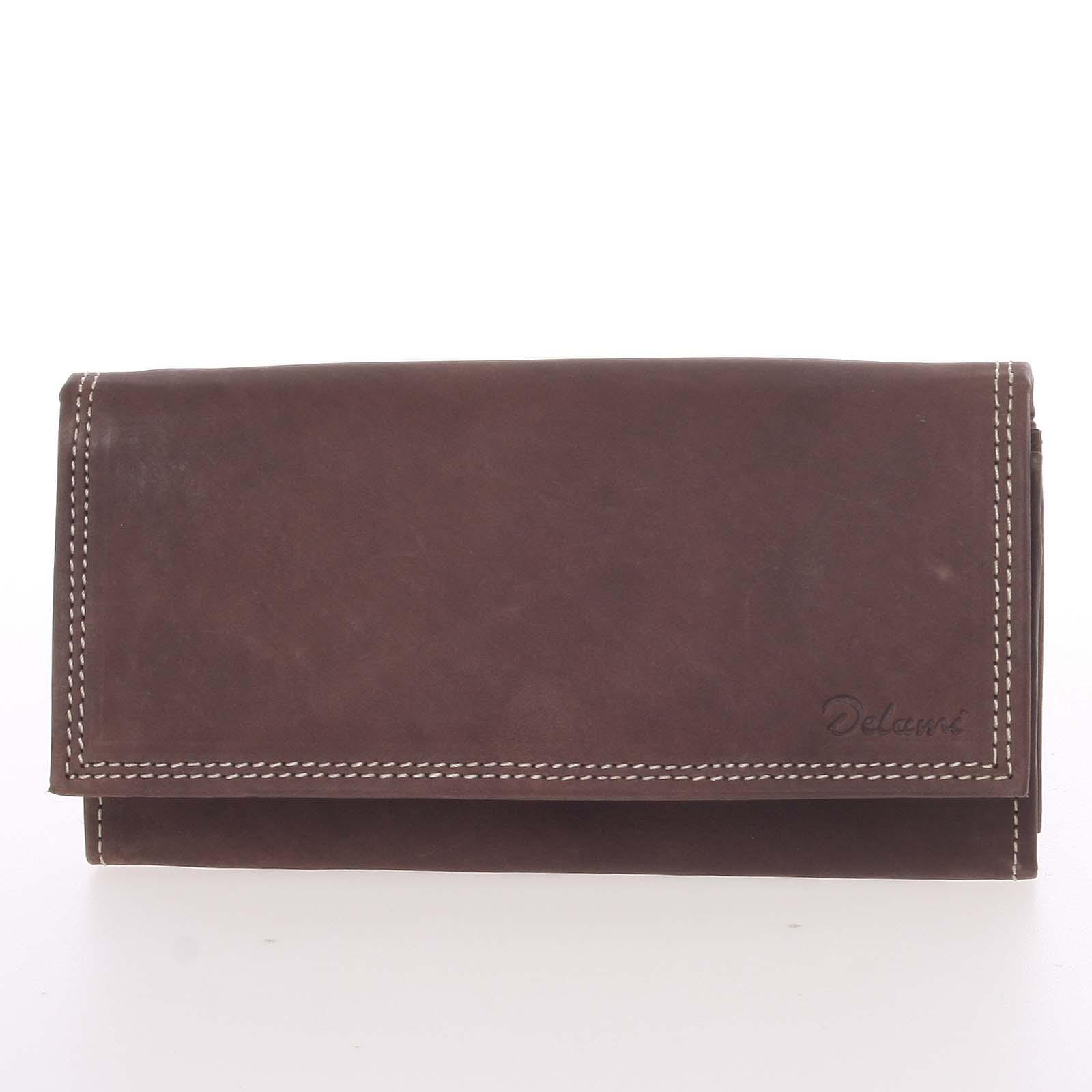 Dámská kožená peněženka tmavě hnědá - Delami Guara
