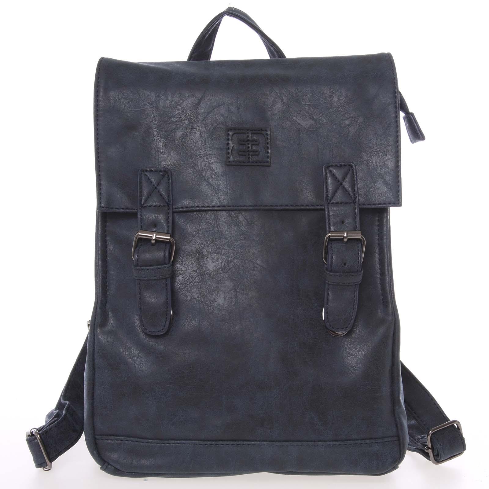 Módní stylový střední batoh tmavě modrý - Enrico Benetti Traverz
