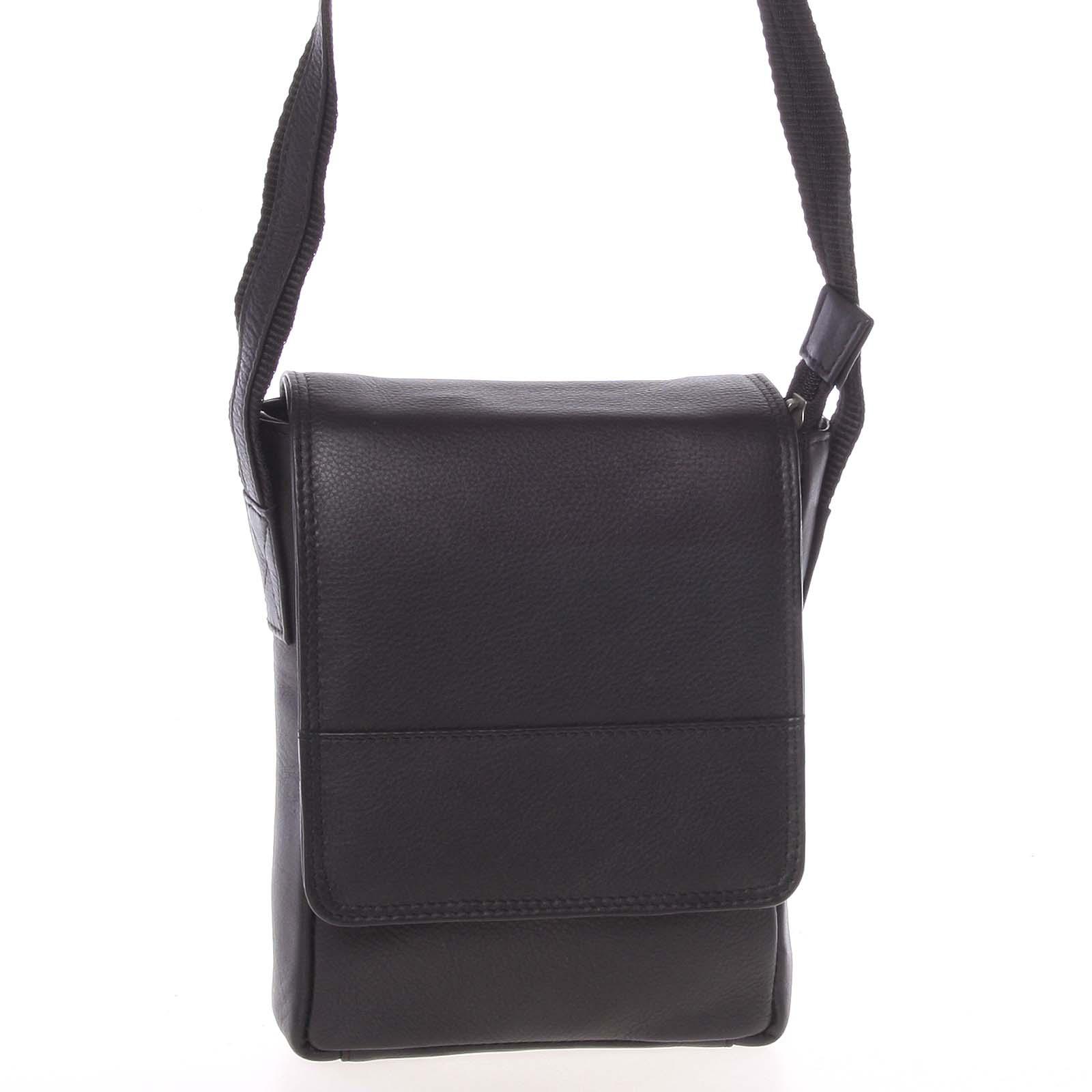 Kožená pánská crossbody taška na doklady černá 0213