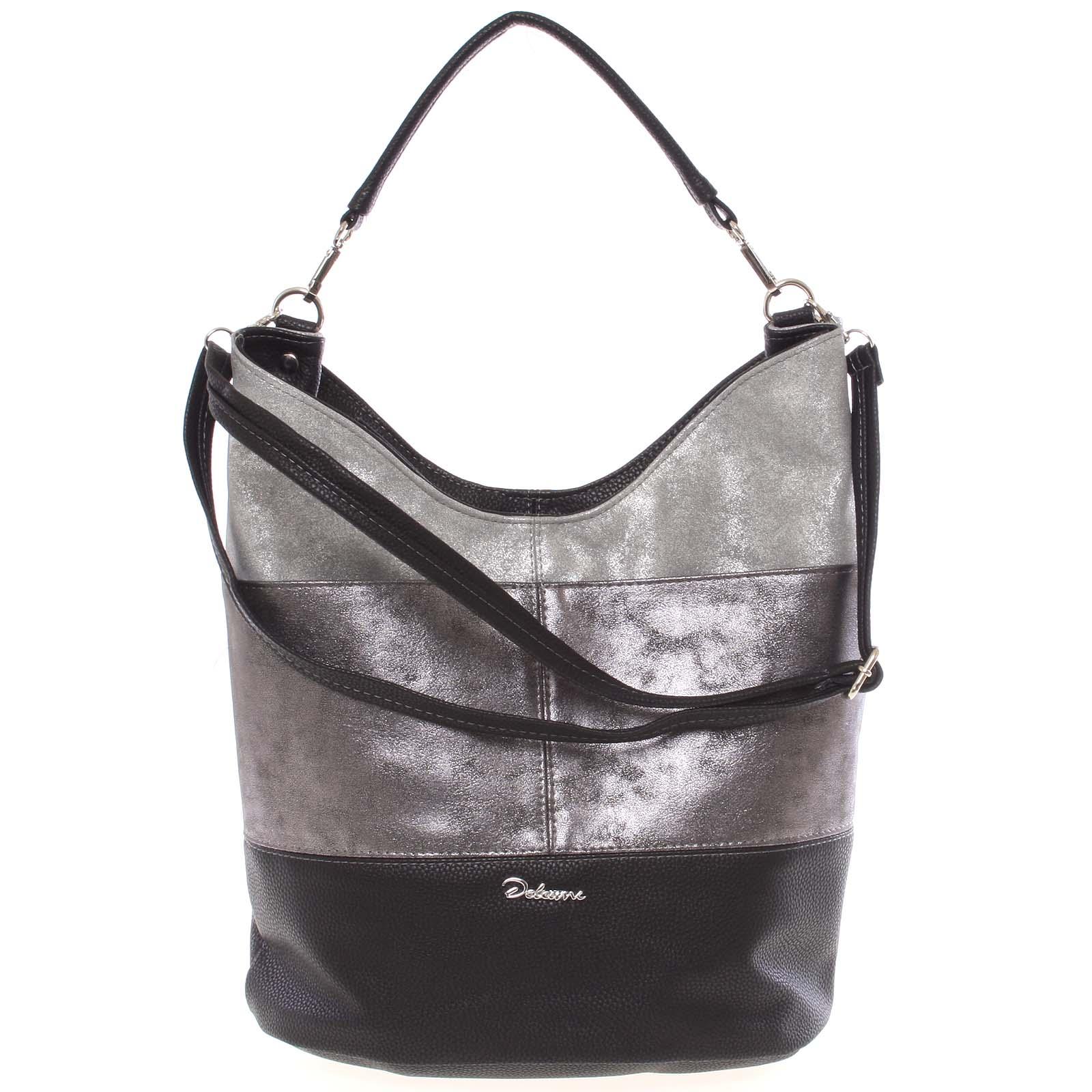 Elegantní černo stříbrně šedá dámská kabelka přes rameno - Delami Shakira