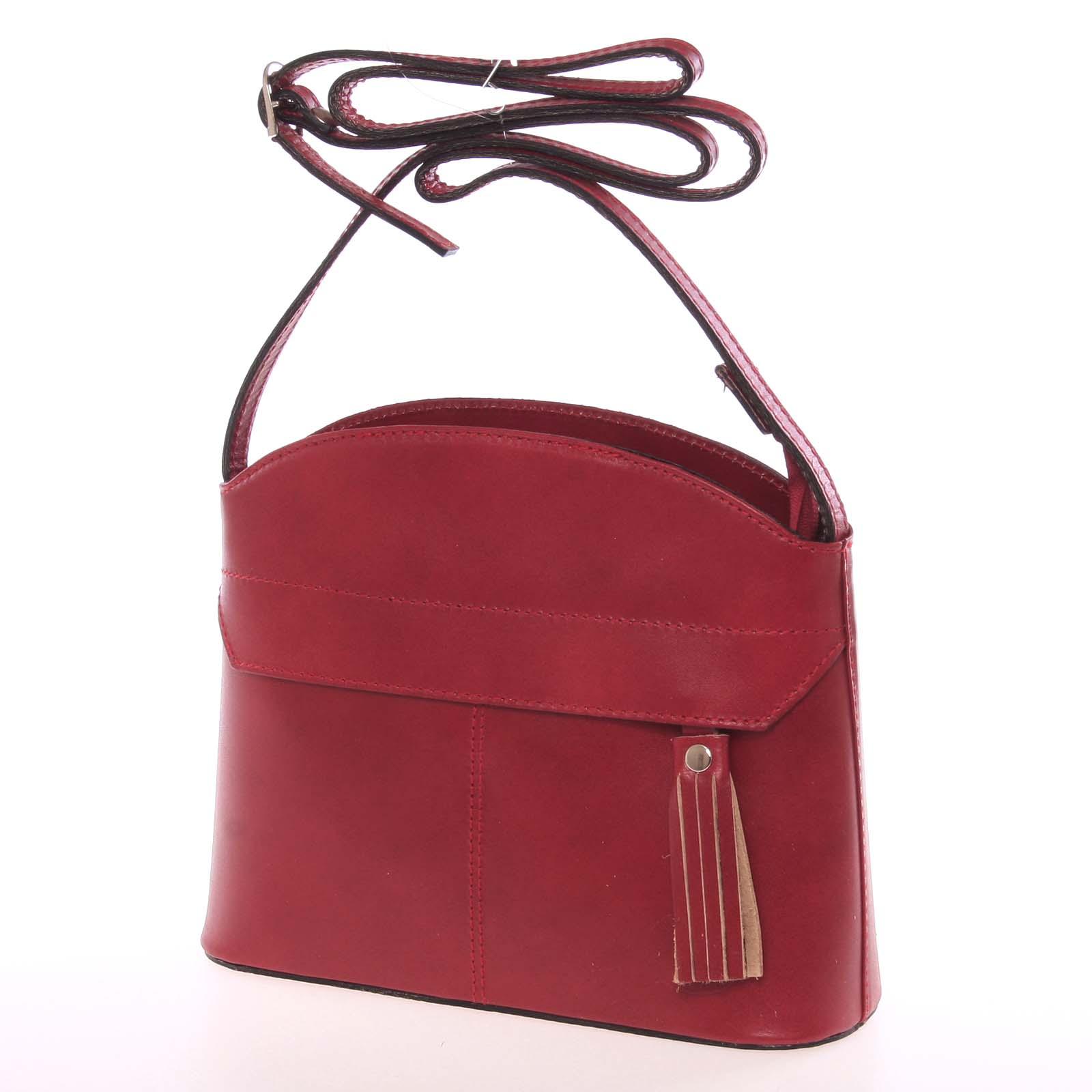 Tmavě červená kožená crossbody kabelka - ItalY Marla