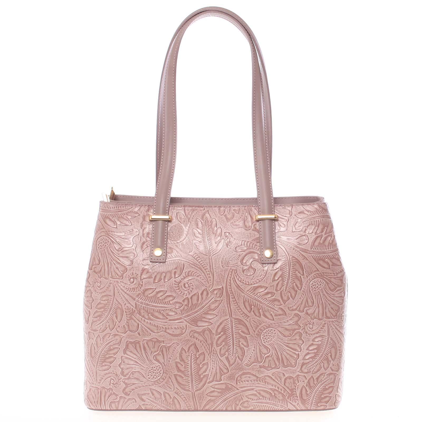 Exkluzivní dámská kožená kabelka tmavě růžová - ItalY Logistilla