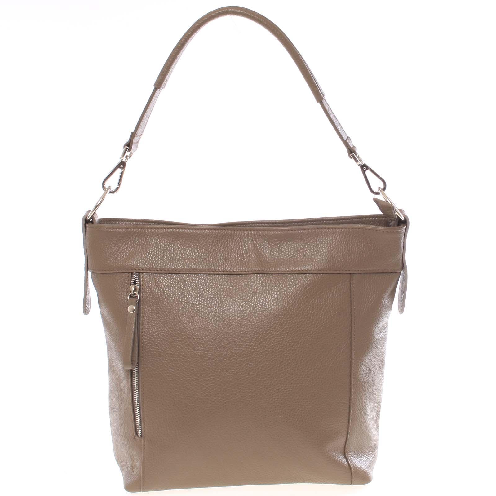 Módní dámská kožená kabelka taupe - ItalY Margareta