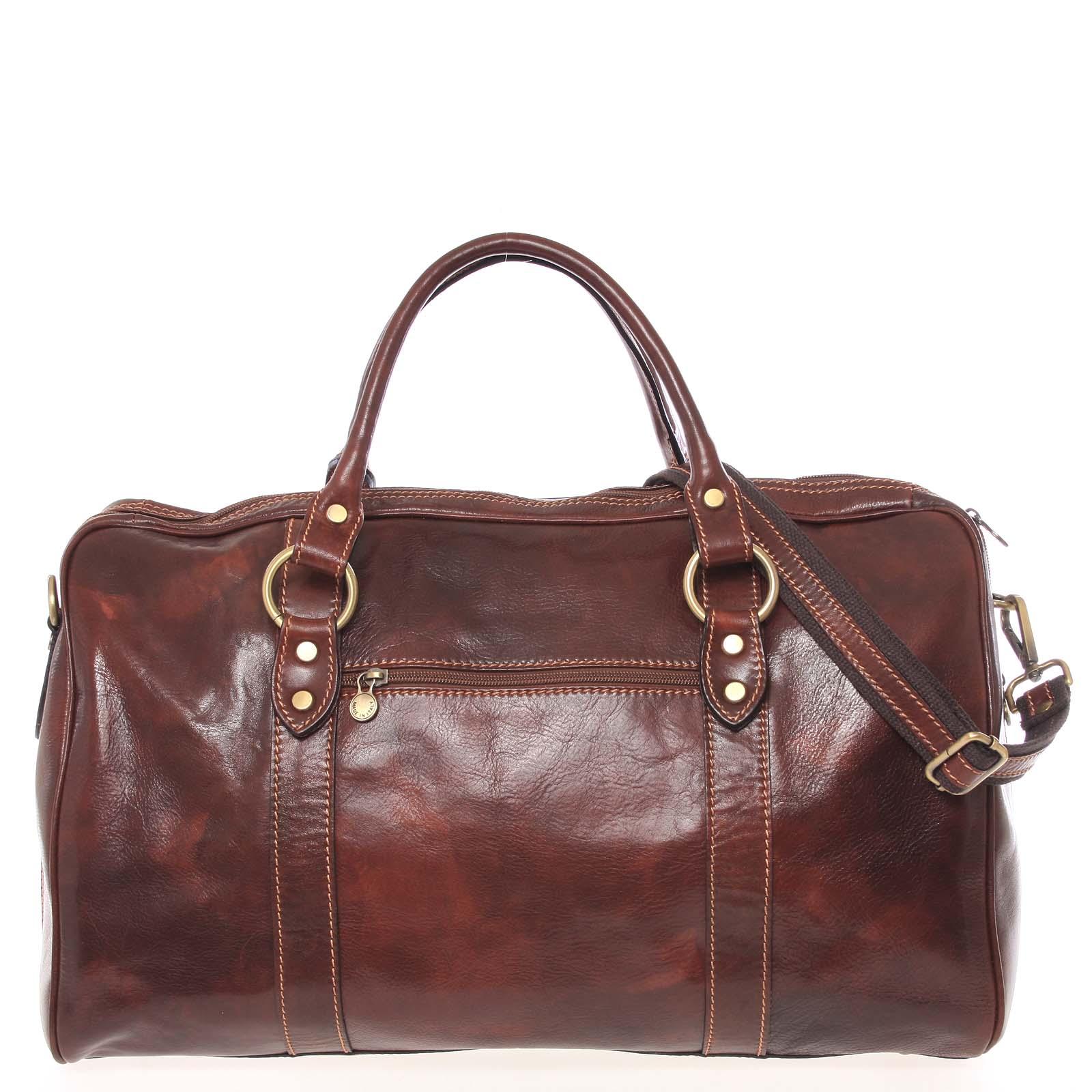 Velká cestovní kožená taška hnědá - ItalY Equado
