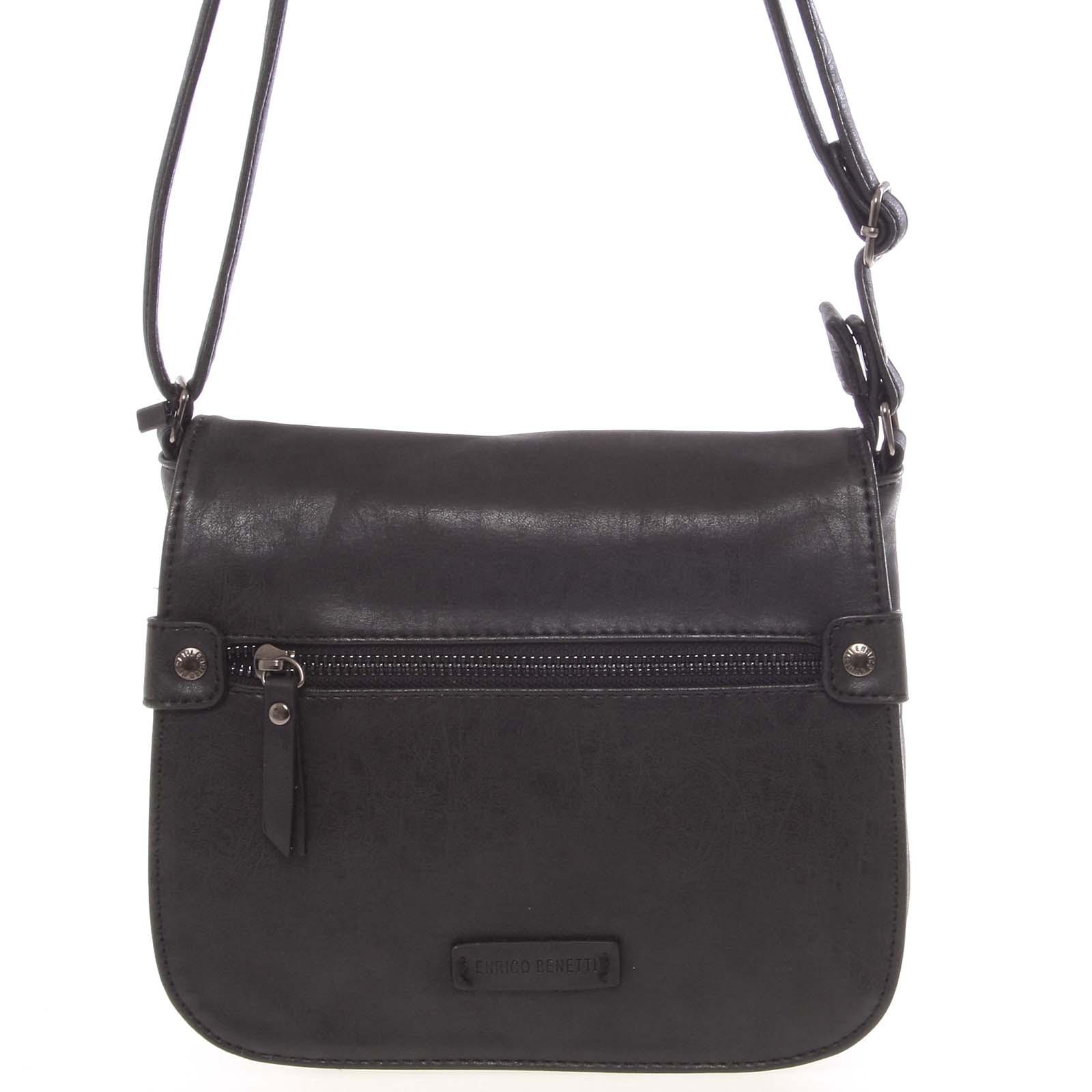 Moderní dámská crossbody kabelka černá - Enrico Benetti Ghina