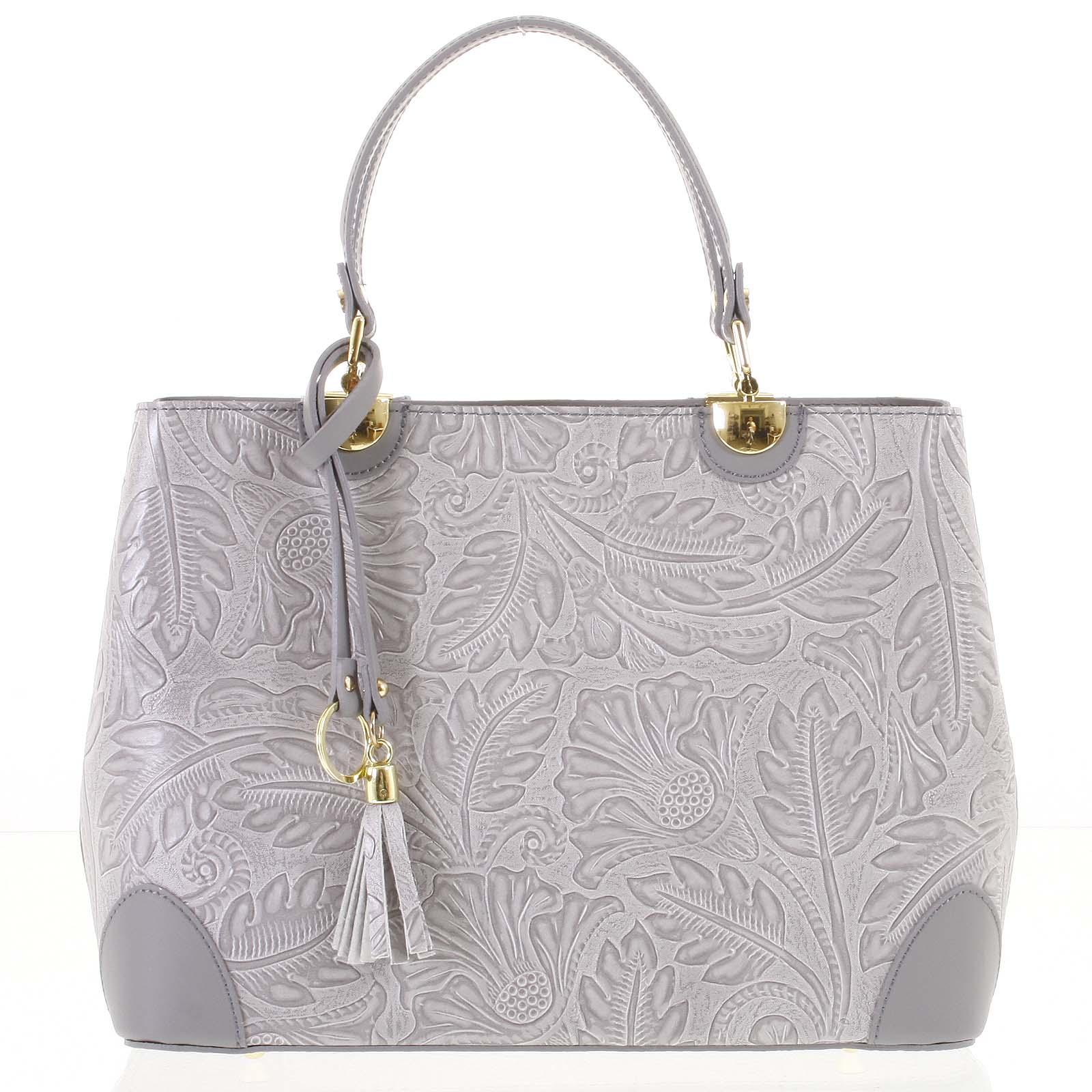 Originální dámská kožená kabelka světle šedá - ItalY Mattie