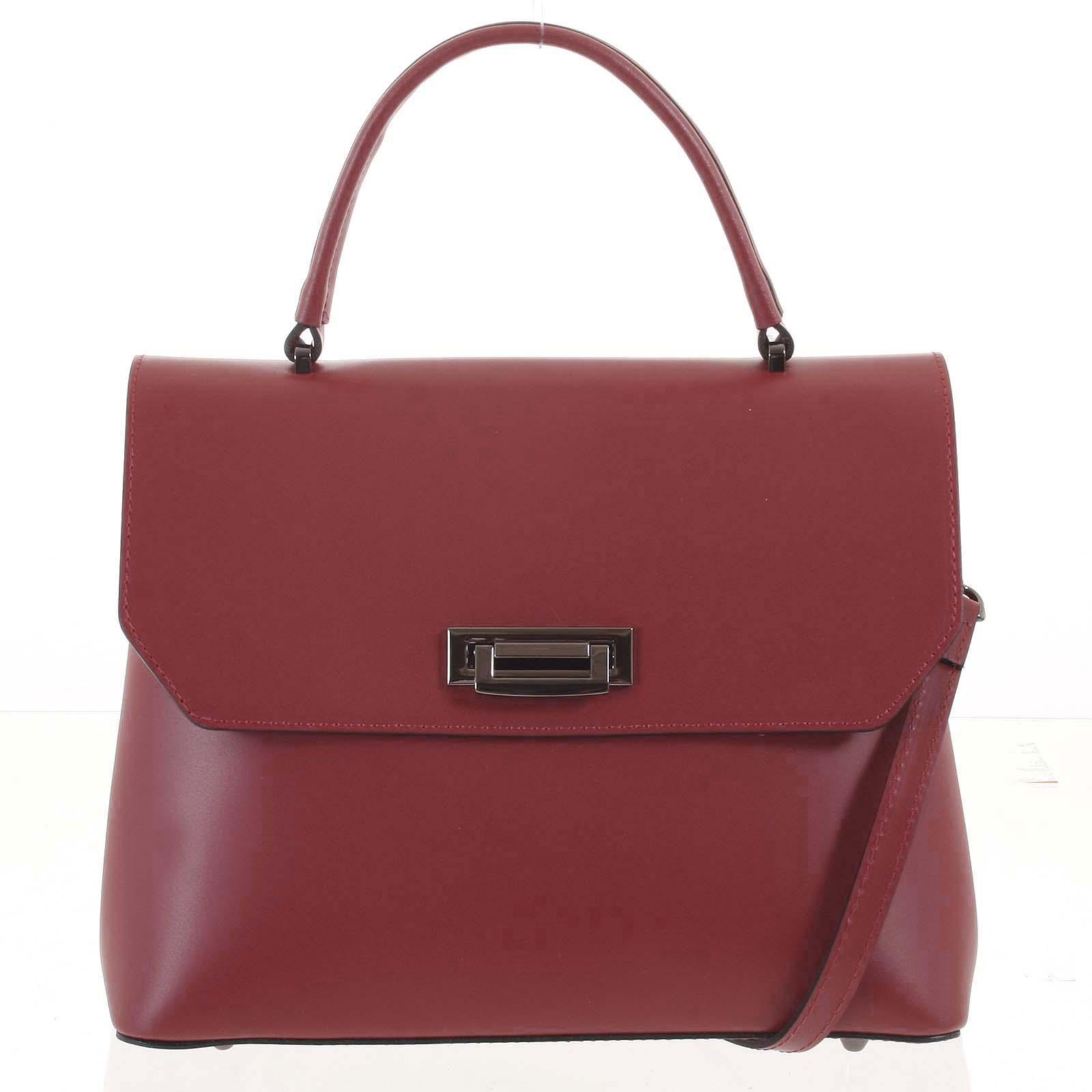 Originální hladká tmavě červená dámská kabelka do ruky - ItalY Neolila