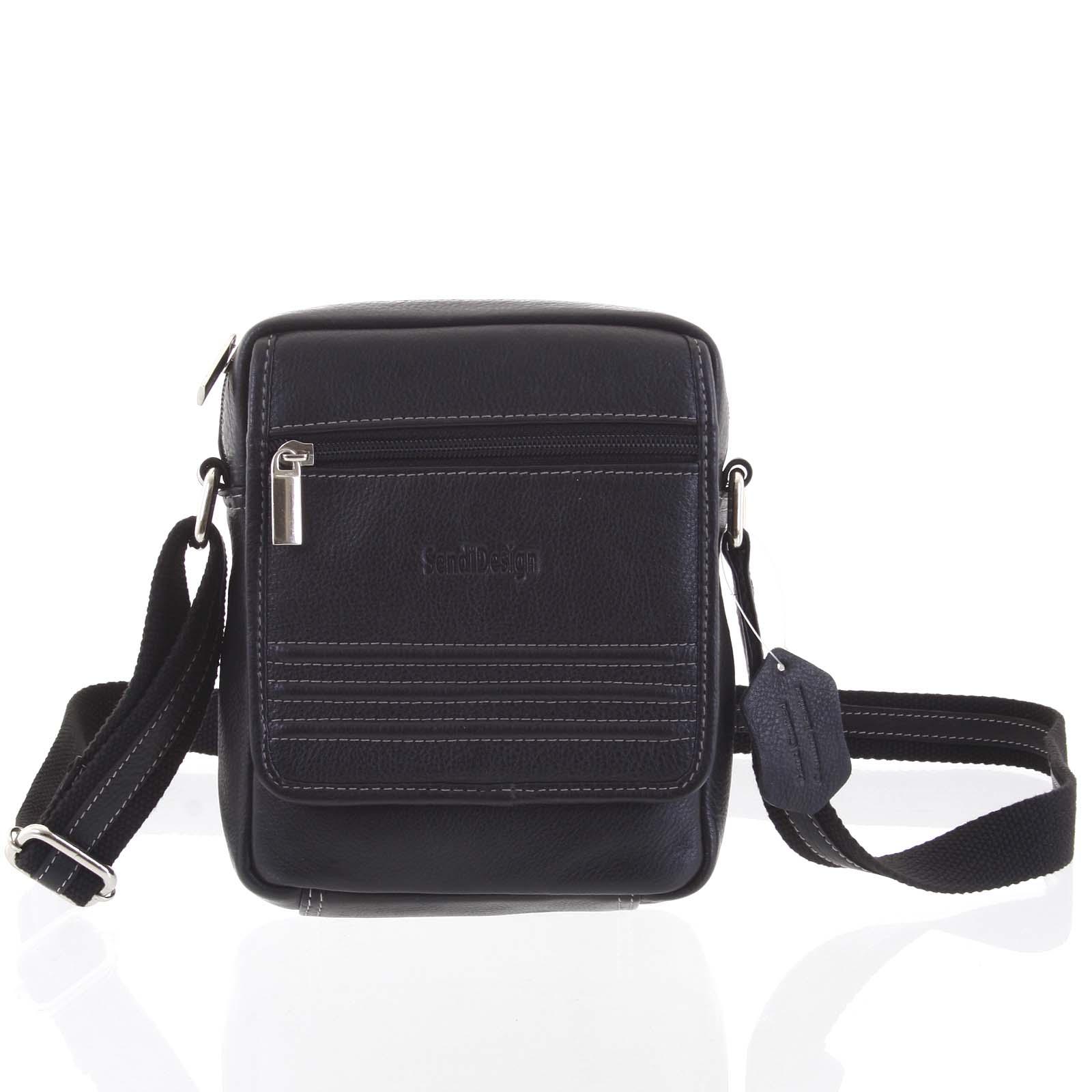 Černá luxusní kožená taška IG713