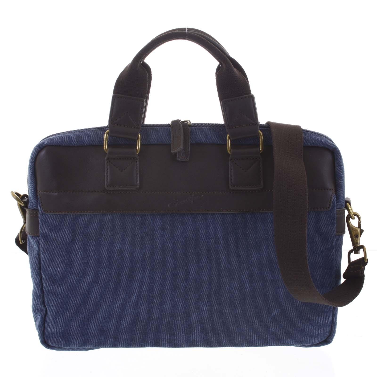 Luxusní pánská taška s koženými detaily modrá - Gerard Henon Lonel