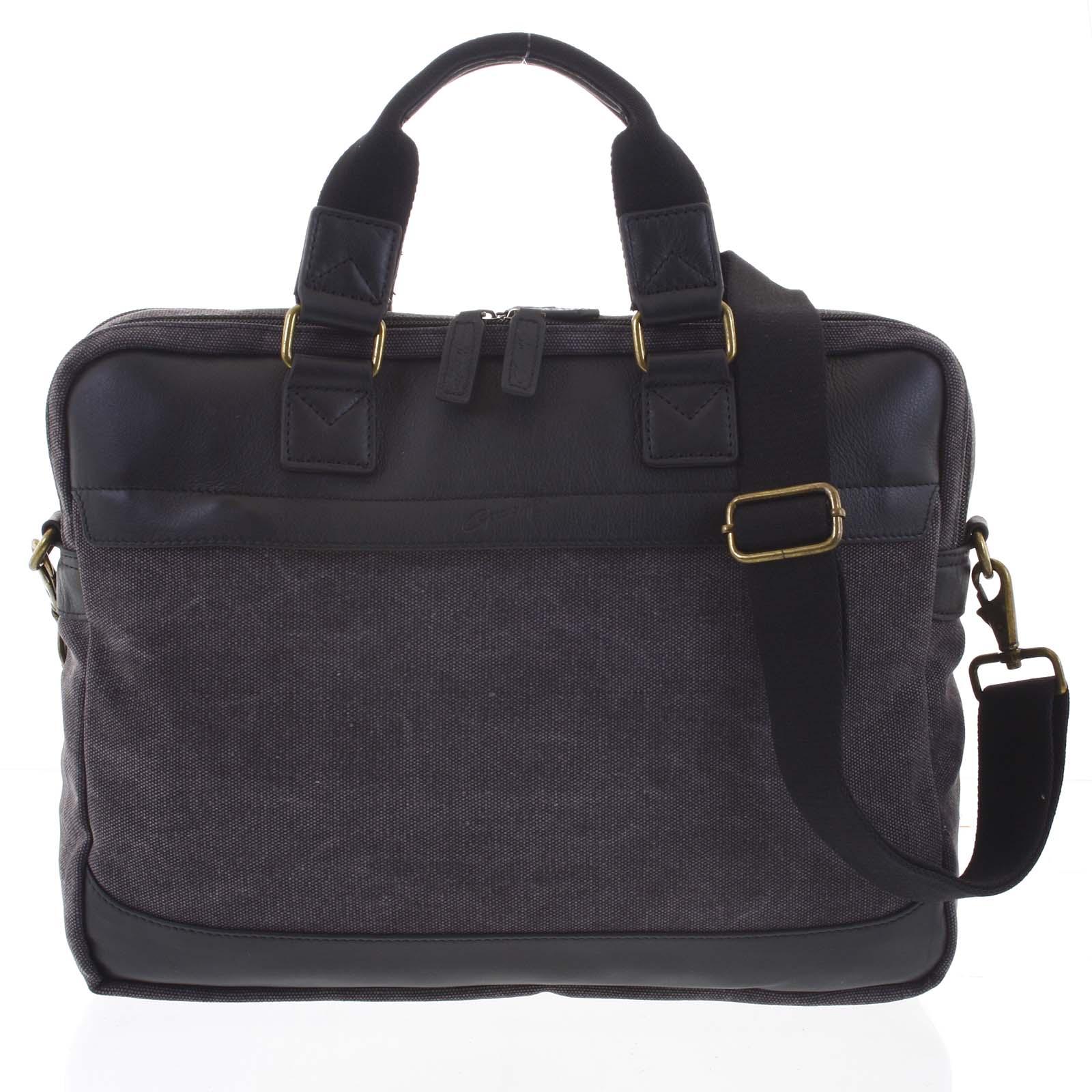 Luxusní střední pánská taška s koženými detaily černá - Gerard Henon Baron