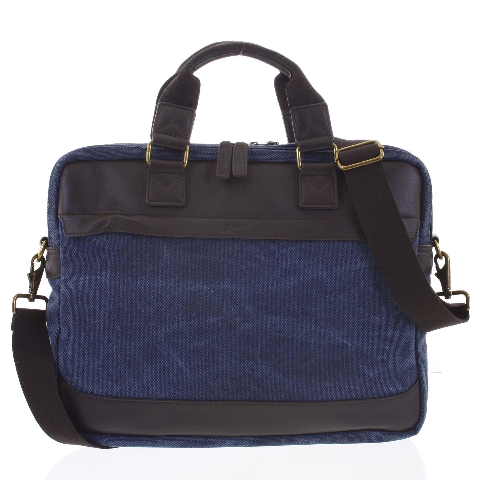 Luxusní střední pánská taška s koženými detaily modrá - Gerard Henon Baron