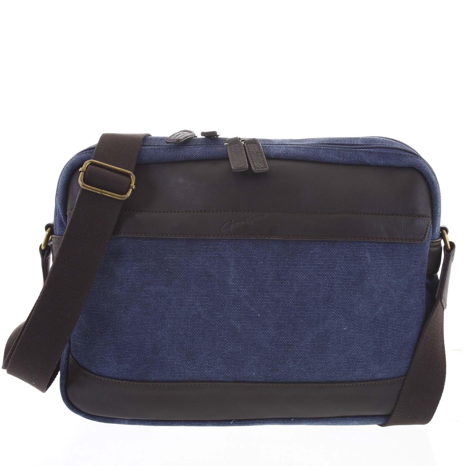 Moderní pánská taška s koženými detaily modrá - Gerard Henon Telfor