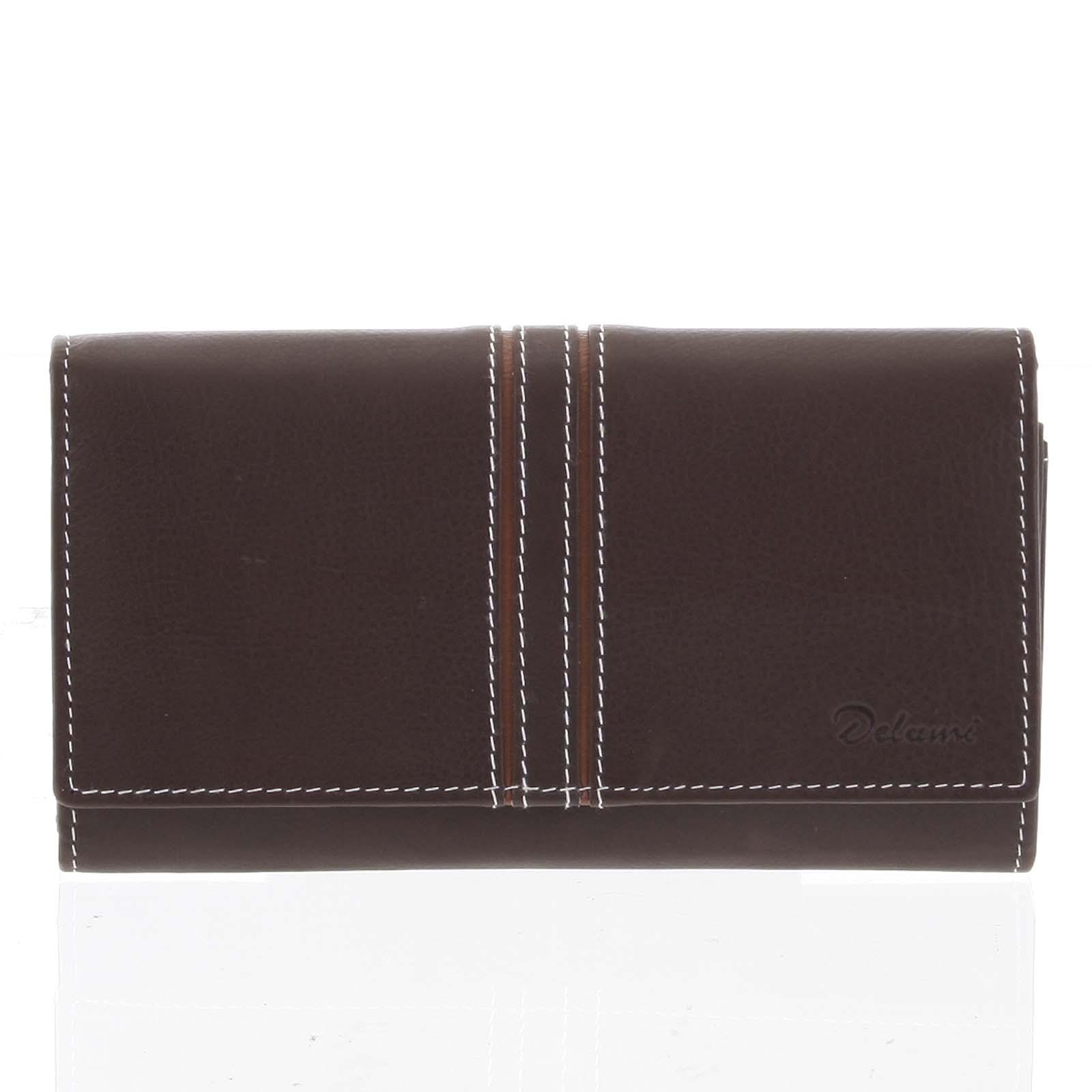 Dámská kožená peněženka hnědá - Delami Lestiel